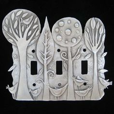 Leandra Drumm Enchanted Forest Triple Switchplate - Home & Office | Don Drumm Studios | Akron, OH