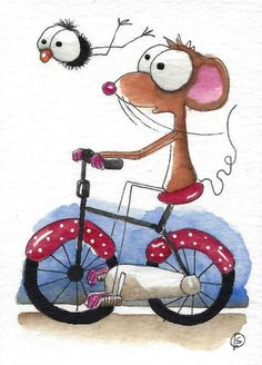 ACEO Original watercolor art painting whimsical Mouse bird crow red bike #IllustrationArt