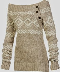 Comfy full sleeves brown and white stylish sweater