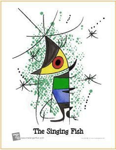 "The Singing Fish | ""Learn to Watercolor"" Project - http://makingartfun.com/htm/f-maf-printit/watercolor-miro.htm"