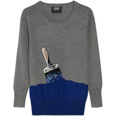 Markus Lupfer Paintbrush sequined merino wool sweater (27.715 RUB) ❤ liked on Polyvore featuring tops, sweaters, jumpers, shirts, merino top, merino wool sweater, lightweight sweaters, merino shirt and merino sweater