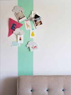Paint a single accent stripe with magnetic paint. For the kitchen, hall, kids room and/or home office. Do It Yourself Inspiration, Inspiration Boards, Magnetic Paint, Craft Projects, Projects To Try, Deco Kids, Home And Deco, Kids Room, Sweet Home