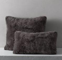Ultra Faux Fur Pillow Cover - Graphite