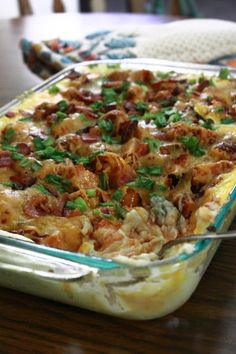 BBQ Chicken Loaded Mashed Potato Casserole.... Made on 11/12/14 really yummy I didn't use the bacon because I'm prego and can't stand the smell. I will definitely make this again KP