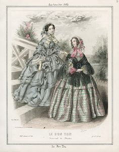 Le Bon Ton, September 1856.  Civil War Era Fashion Plate