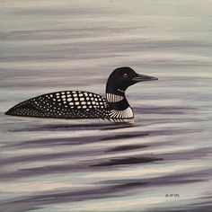 Common Loon, original acrylic painting for sale by artist Maureen McKay Bird Paintings, Wildlife Paintings, Paintings For Sale, Acrylic Painting Canvas, Artist, Animals, Paintings Of Birds, Animales, Animaux