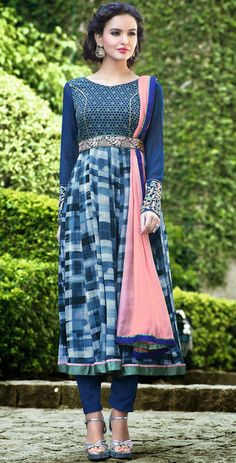USD 46.84 Blue Georgette Anarkali Salwar Kameez 44344