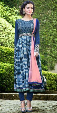 USD 46.84 Blue Georgette Anarkali Salwar Kameez 44344