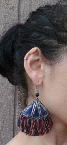 Tribal Fringe Earrings reversable - Bohemian - Ethnic earrings- Upcycled metal - Tribal Fusion Belly