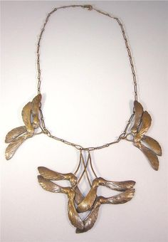 French Art Nouveau Brass (?) Leaf Necklace Signed Edouard-Aime Arnould