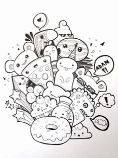 Monsters Doodle Coloring Page Printable Cute Kawaii Coloring Page