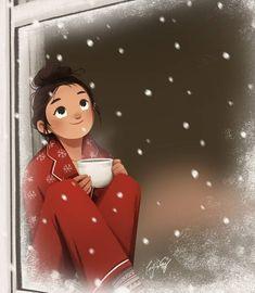 Stay Cozy - Art Print - Illustration Print - Winter Art - Home Deco - Wall Deco - Peijin Art And Illustration, Illustration Inspiration, Cartoon Illustrations, Character Illustration, Cartoon Drawings, Alone Art, Cute Cartoon Girl, Cartoon Art Styles, Winter Art