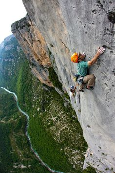 Rock climbing in the Verdon Gorge, near La Palud, France.