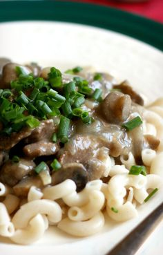 Creamy and delicious beef stroganoff recipe made without any canned soups! Easy and comforting. #glutenfree #noodles