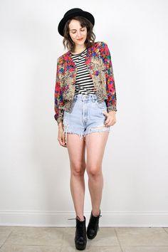 Vintage 90s Jacket Grunge Blazer Mixed Print by ShopTwitchVintage