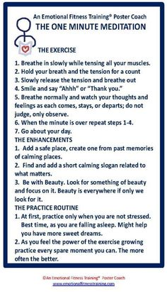 Instructions for a one minute meditation to improve your emotional fitness.