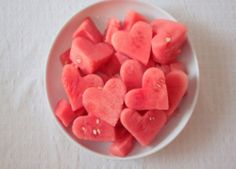 Watermelon hearts - cut out with cookie cutter