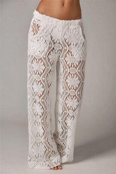 Pantalon Tricot Elegante Blanco Patron - Patrones Crochet