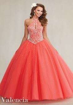89084 Quinceanera Gowns Embroidery and Beading on a Tulle Ball Gown