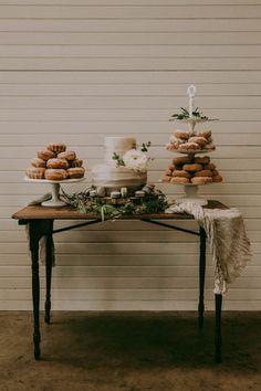 Wedding cake + donuts + macaroons = our idea of the best dessert options! Image by Folk + Wayfarer Wedding Tips, Wedding Table, Rustic Wedding, Wedding Planning, Wedding Day, Woodland Wedding, Wedding Attire, Wedding Ceremony, Wedding Donuts