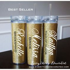 Skinny Gold Glitter Tumbler Bridesmaid gifts wedding favors