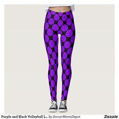Purple and Black Volleyball Leggings Pants! #volleyball #leggings #purple #volleyballshorts #compressionpants