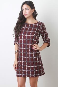 Make it vintage in this super cute shift dress, perfect for layering over leggings and under scarfs!