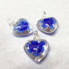 BLUE GLASS HEART Charms by CoseBelleByMaria on Etsy