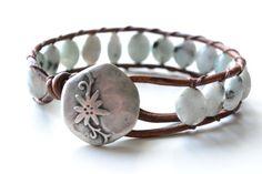 "Wildflower single wrap leather bracelet ""light aqua with dalmatian spots"", beachy, boho chic, bohemian bracelet"