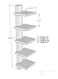 High Rise Shelf by Ana White Diy Bookshelf Wall, Vertical Bookshelf, Simple Bookshelf, Wall Shelf Unit, Shelf Furniture, Furniture Plans, Furniture Makeover, Easy Shelves, Ikea Shelves