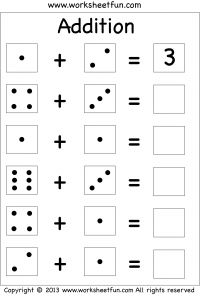 Dice Addition – Single Digit Addition – Three Worksheets / FREE Printable Worksheets