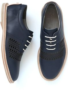 Perforated Oxfords in Navy (by Thorocraft)
