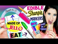 DIY EDIBLE Sharpie Markers | EAT Sharpies Whole | Draw On Tongue | EATABLE School Supplies! - YouTube
