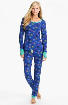 Not too sure i want something on my hands...but these look so cute and comfy! Steve Madden 'Cozy Up' Print Thermal Pajamas | Nordstrom