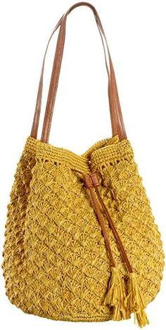 Mar Y Sol Solana Crochet Shoulder Bag,Canary,one size