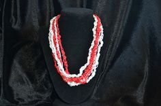 Wisconsin Badgers, Trellis Ladder Ribbon Yarn Necklace, Hand Crocheted, Jewelry, Fiber Jewelry, Red and White by LittleHarborDesigns on Etsy