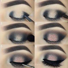 Eye Makeup Tips.Smokey Eye Makeup Tips - For a Catchy and Impressive Look Eye Makeup Glitter, Makeup Tips Eyeshadow, Smokey Eye Makeup, Makeup For Brown Eyes, Makeup Brushes, Makeup Tools, Eyeliner Makeup, Skin Makeup, Makeup Geek
