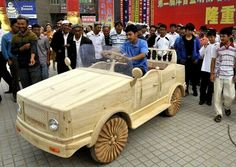 This wooden car with the wheels in the wooden frame may seem like a museum piece, but in fact it is quite a work trucks.Family duo (father and son) from the Chinese province of Xinjiang invested in it of 15 000 yuan, and now its market value has increased by 10 times!The car was unveiled at the International Festival of Tourism in Kashgar and attention, of course, was not deprived.