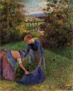 Women Gathering Grass - Camille Pissarro Completion Date: 1883 Style: Pointillism Genre: genre painting Technique: oil Material: canvas Gallery: Private Collection