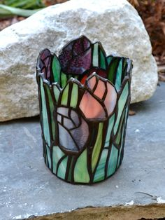Stained Glass Tulip Candle Shelter by dortdesigns on Etsy