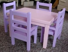 Doll Table and Chairs Ag Dolls, Girl Dolls, American Girl Furniture, American Girl Clothes, American Girls, Doll Food, Barbie, Doll Furniture, Furniture Ideas