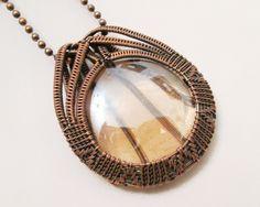 Oxidized Copper Wire Woven & Light Clear Orange Glass Pendant