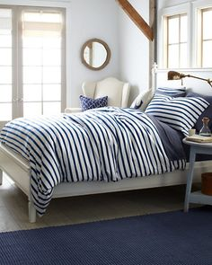 French Stripe Jersey-Knit Bedding - Garnet Hill #nautical