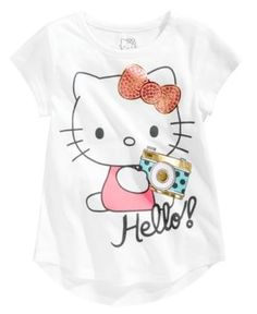 Hello Kitty Hello! Camera Cotton T-Shirt, Toddler Girls (2T-5T) - White 2T