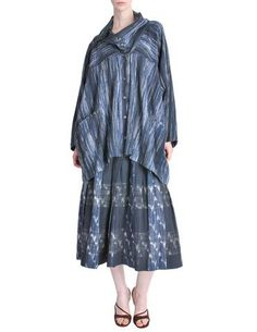 Issey Miyake Vintage Blue Woven Jacket & Skirt Ensemble Set - from Amarcord Vintage Fashion