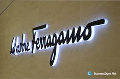 LED Side-lit Signs With Black Acrylic Front Panel For Salvatore Ferragamo Retail Signage, Wayfinding Signage, Signage Design, Backlit Signage, Neon Box, Led Logo, Luz Led, Black Acrylics, Business Signs