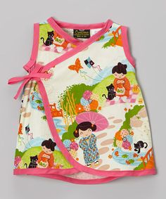 This Pink Little Kimono Girl Wrap Dress - Infant by Conscious Children's Clothing is perfect! Kawaii all the way.