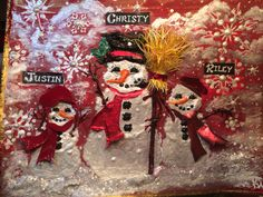 Christy and Family's Christmas card 2014. Katie Pie Kards by Kelly Hardisty. All handmade by me. The hats and broom were the hardest to do...