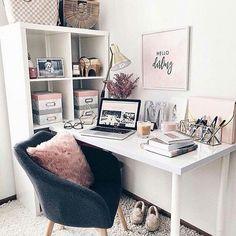 Organisation, home office furniture, home office decor, office desk, diy ho Small Office Decor, Home Office Decor, Home Decor, Office Ideas, Office Designs, Master Bedroom Interior, Bedroom Decor, Bedroom Ideas, Bedroom Bed