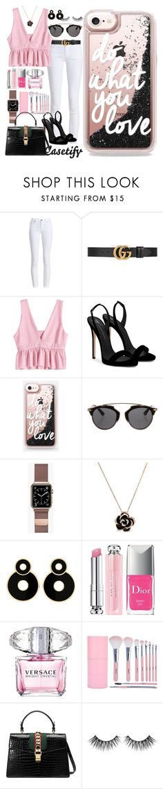 """""""When Black GLITTER meets Pink💗"""" by casetify ❤ liked on Polyvore featuring Barbour, Gucci, Giuseppe Zanotti, Christian Dior, Casetify and Versace"""